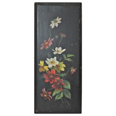 19th Century Victorian Floral Painting on Board