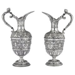 Victorian Pair of Solid Silver Cellini Ewer Jugs, Sheffield, circa 1890