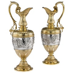 Victorian Silver-Gilt Pair of Wine Ewers by Elkington & Co, circa 1878