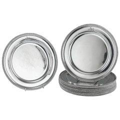 19thc Victorian Solid Silver 12 Dinner Plates by John Samuel Hunt, circa 1857