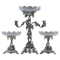 19th Century Victorian Solid Silver Centerpiece Garniture, London, circa 1860