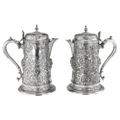 19th Century Victorian Solid Silver Pair of Flagons, Martin Hall & Co circa 1875