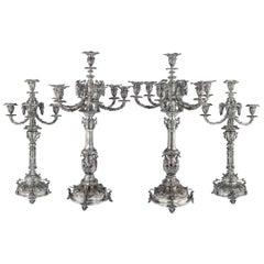 Victorian Solid Silver Set of Four Candelabras, Macrae, circa 1872-1873