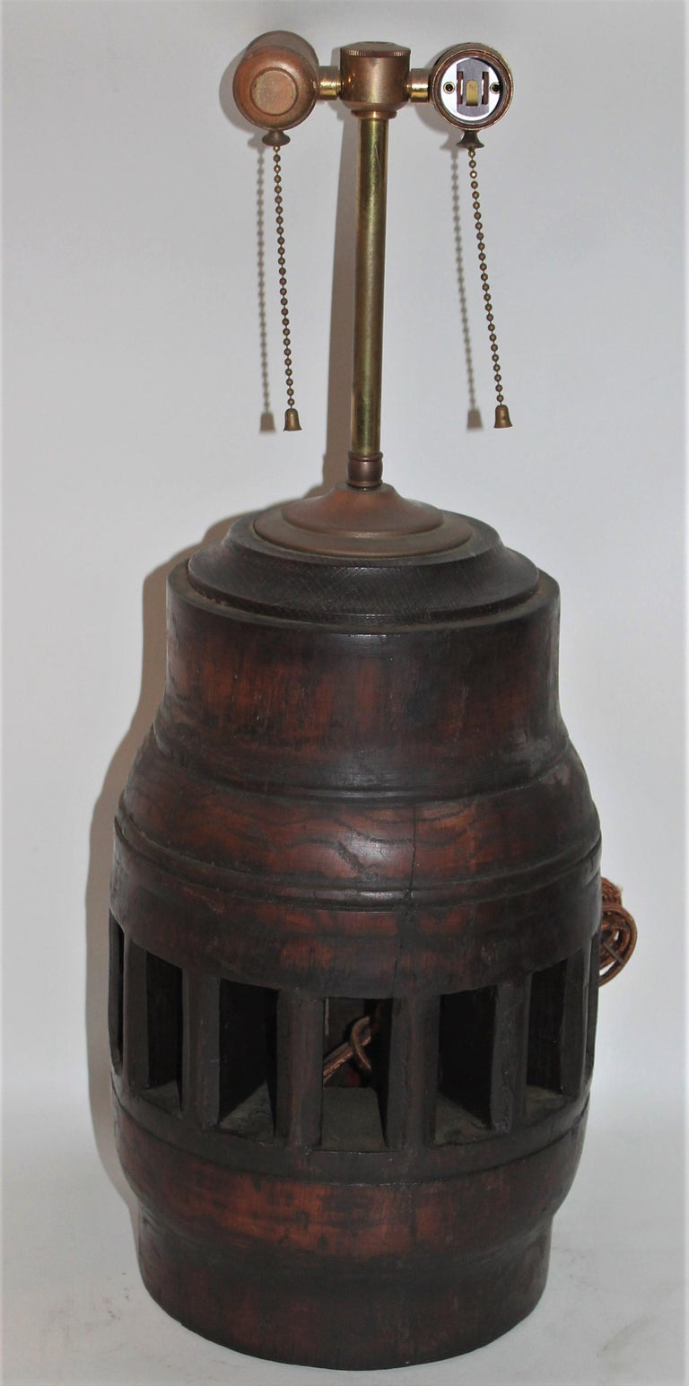 Country 19th Century Wagon Wheel Hub Lamps, Pair For Sale