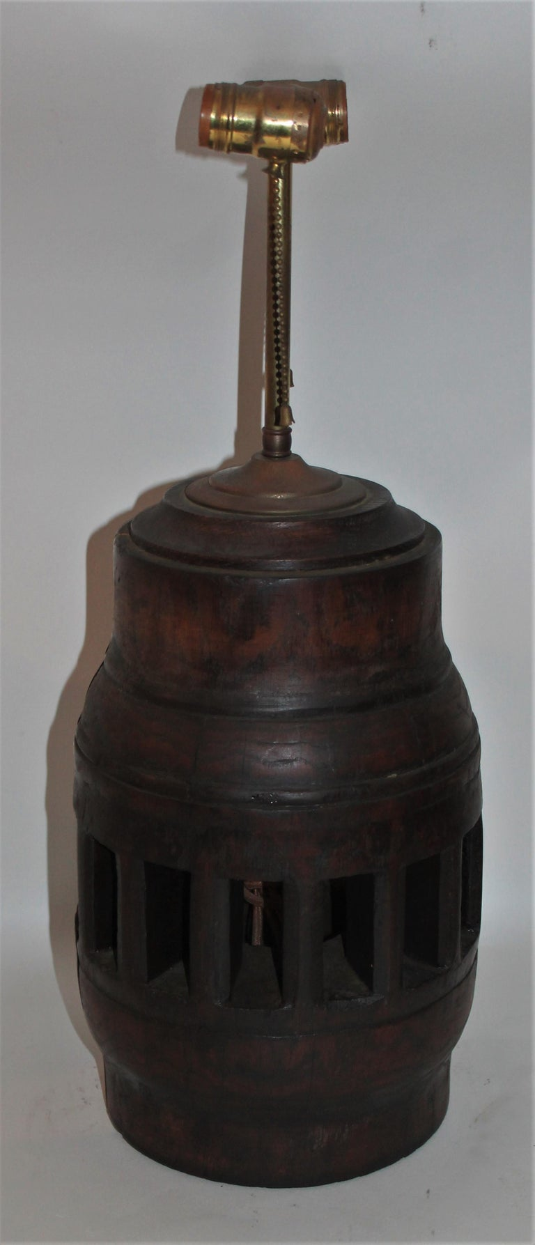 American 19th Century Wagon Wheel Hub Lamps, Pair For Sale