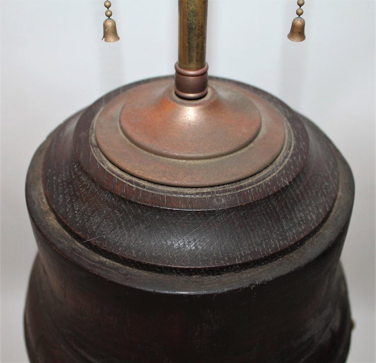 Hand-Crafted 19th Century Wagon Wheel Hub Lamps, Pair For Sale