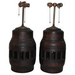 19th Century Wagon Wheel Hub Lamps, Pair