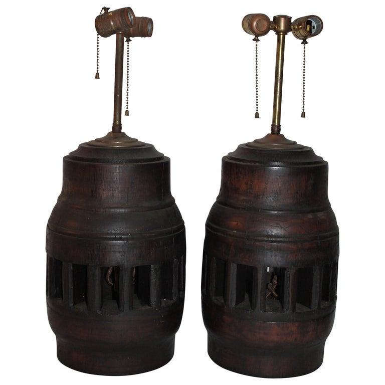 19th Century Wagon Wheel Hub Lamps, Pair For Sale