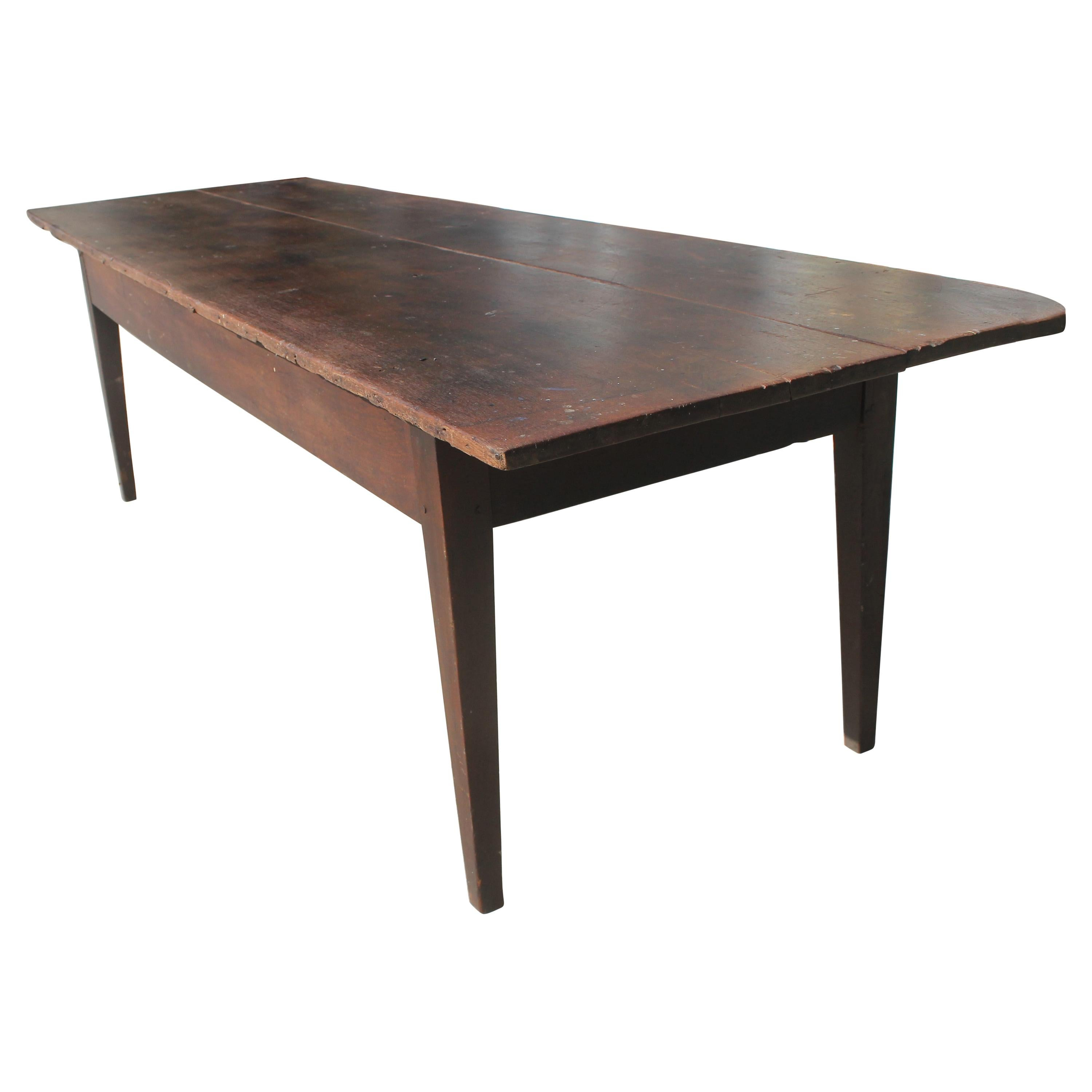19Thc Walnut Harvest Table With Drawer