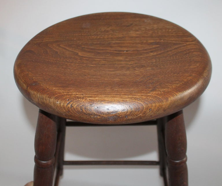Hand-Crafted 19th Century Weavers Stool in Natural Surface For Sale