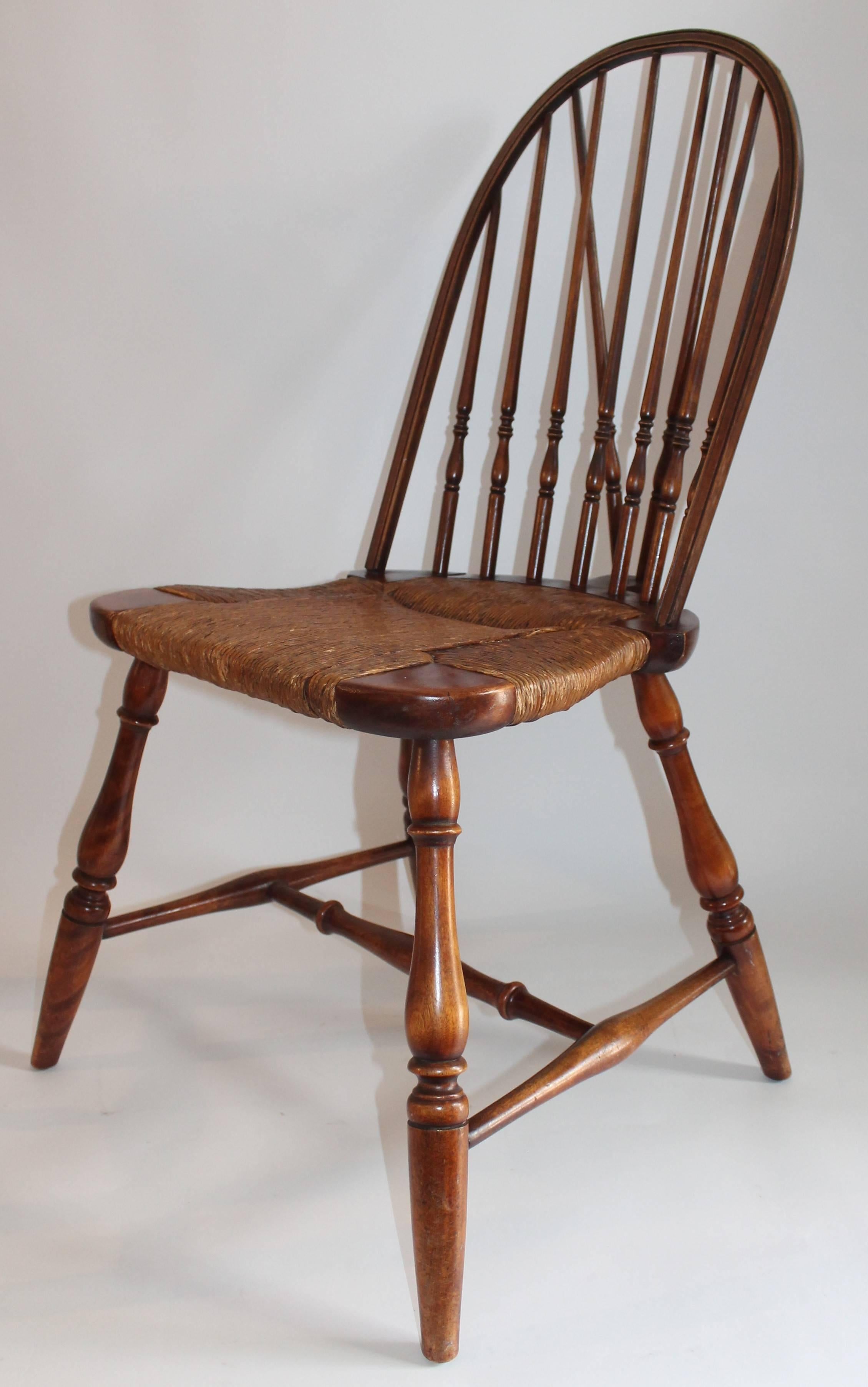 Hand Crafted 19th Century Windsor Brace Back Chairs, Pair For Sale