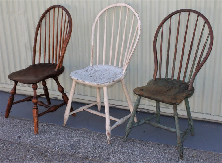 Country 19th Century Windsor Chair Collection / 3 For Sale