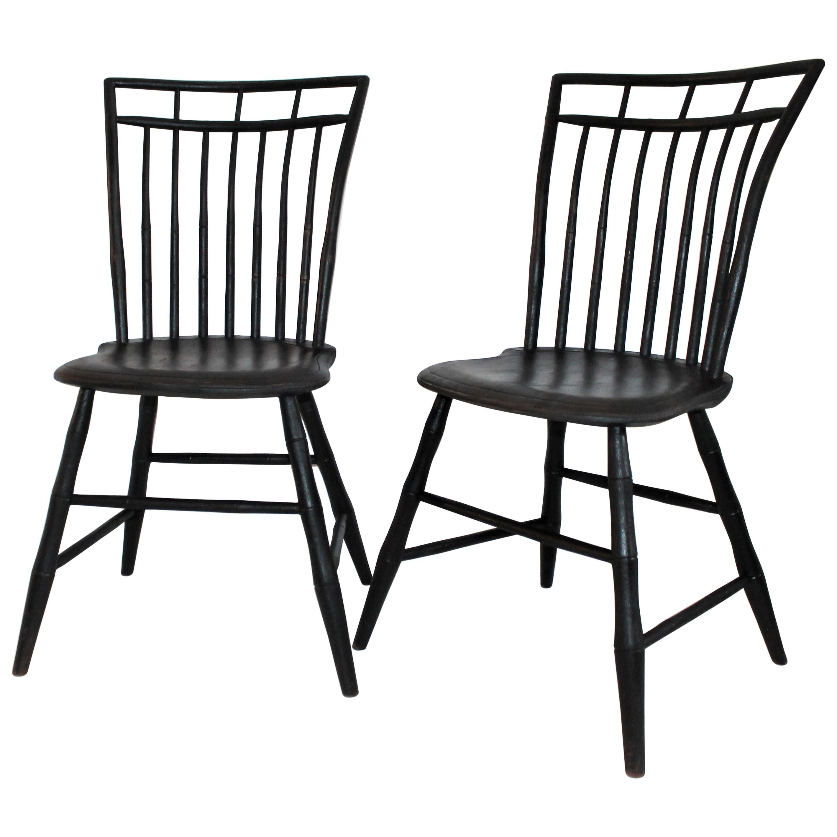 19th Century Windsor Chairs in Black Painted Surface, Pair