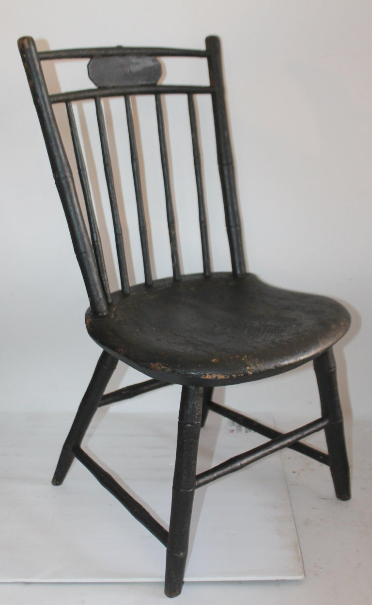Country 19th Century Windsor Children's Chairs in Black Painted Surface, Pair For Sale