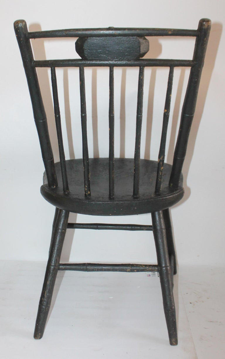 Hand-Crafted 19th Century Windsor Children's Chairs in Black Painted Surface, Pair For Sale