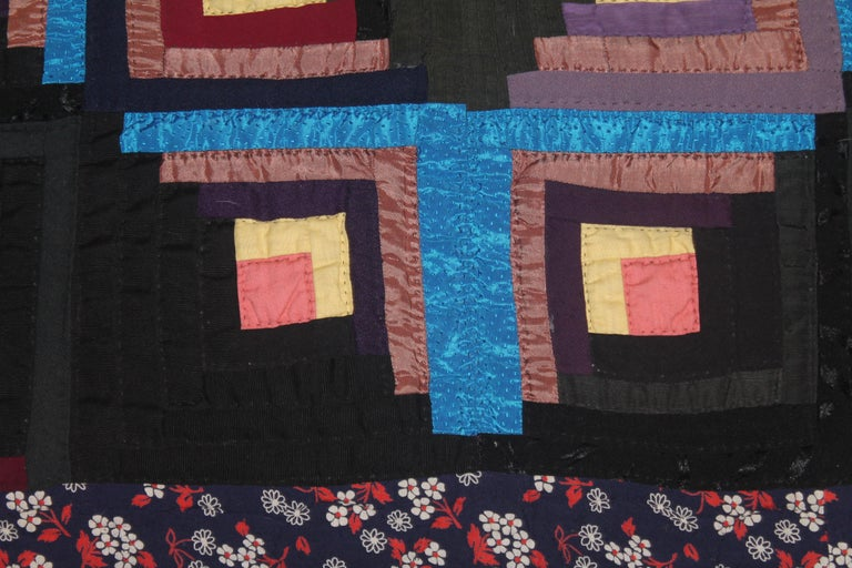 Adirondack 19thc Wool Flannel Log Cabin Quilt For Sale
