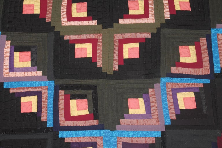 American 19thc Wool Flannel Log Cabin Quilt For Sale