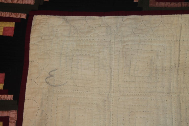 19th Century 19thc Wool Flannel Log Cabin Quilt For Sale