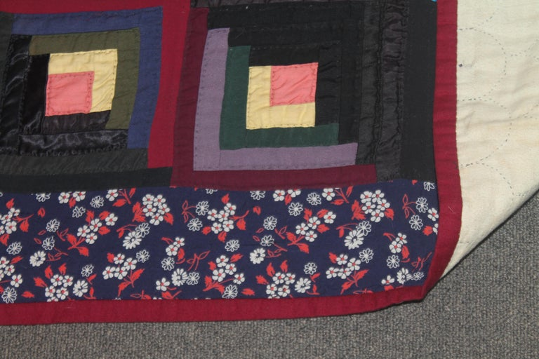19thc Wool Flannel Log Cabin Quilt For Sale 1