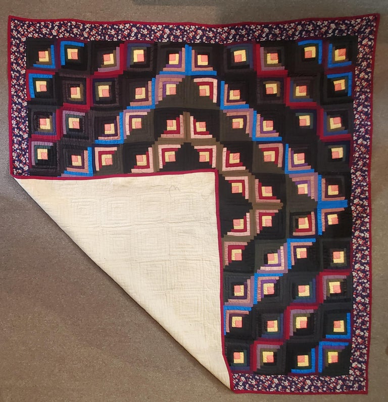 19thc Wool Flannel Log Cabin Quilt For Sale 2