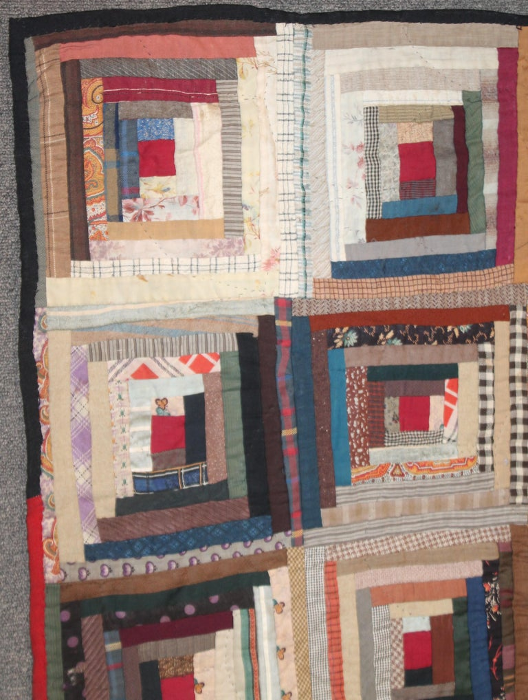 Adirondack 19th Century Wool Log Cabin Quilt For Sale