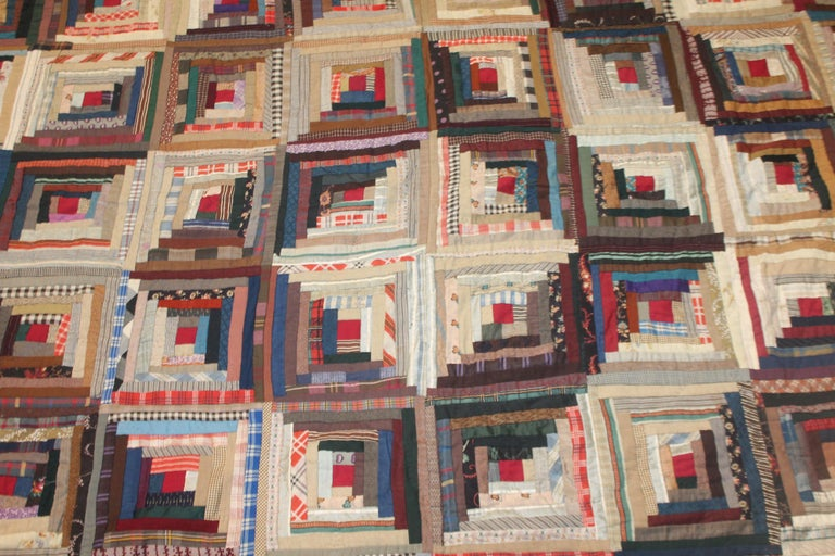 American 19th Century Wool Log Cabin Quilt For Sale