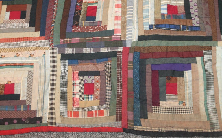 Hand-Crafted 19th Century Wool Log Cabin Quilt For Sale