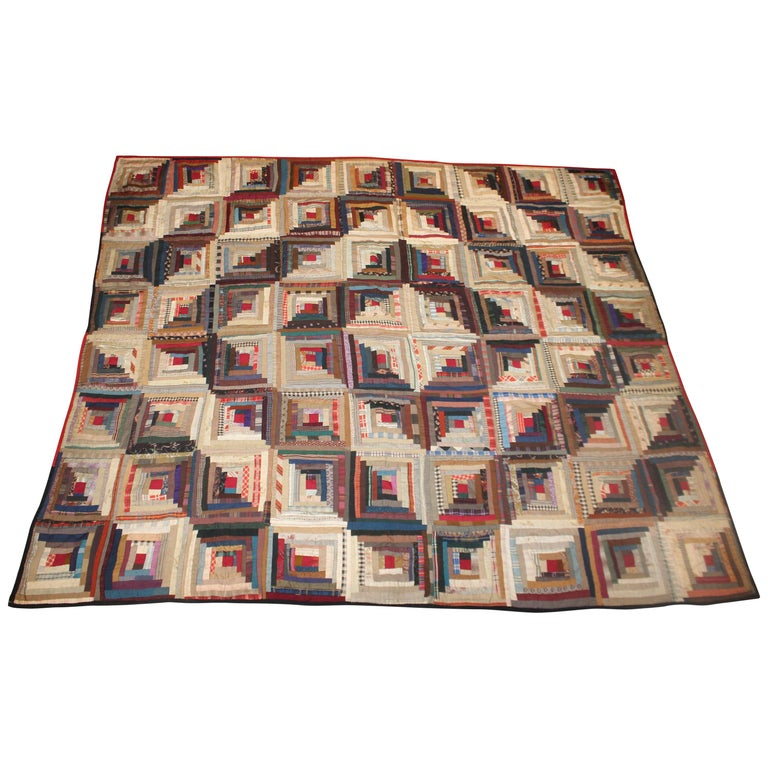 19th Century Wool Log Cabin Quilt For Sale