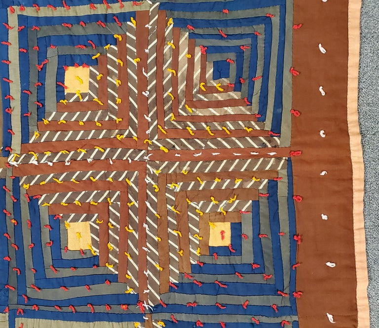 Adirondack 19th Century Wool Tied Comforter / Quilt For Sale