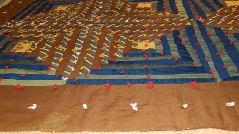 American 19th Century Wool Tied Comforter / Quilt For Sale