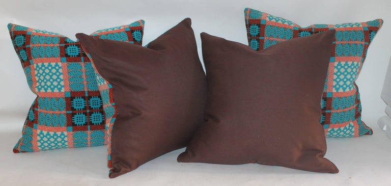 American 21st Century Woven Jaquard Coverlet Pillows, Pair For Sale