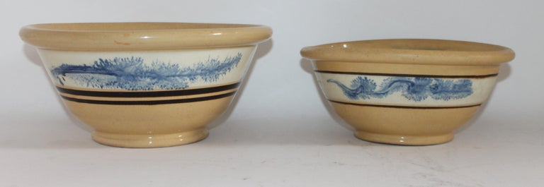 These two yellow ware seaweed pattern mixing bowls are in fine as found condition. There are no chips or cracks and have wonderful blue painted seaweed on both bands of the bowls. It is very rare to find these bowls in such fine condition.