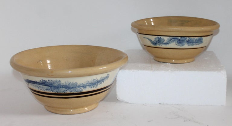 American 19th Century Yellow Ware in Seaweed Pattern Mixing Bowls, Pair For Sale