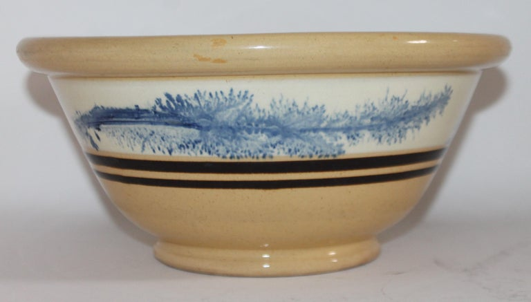 Pottery 19th Century Yellow Ware in Seaweed Pattern Mixing Bowls, Pair For Sale