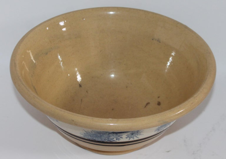 19th Century Yellow Ware in Seaweed Pattern Mixing Bowls, Pair For Sale 2