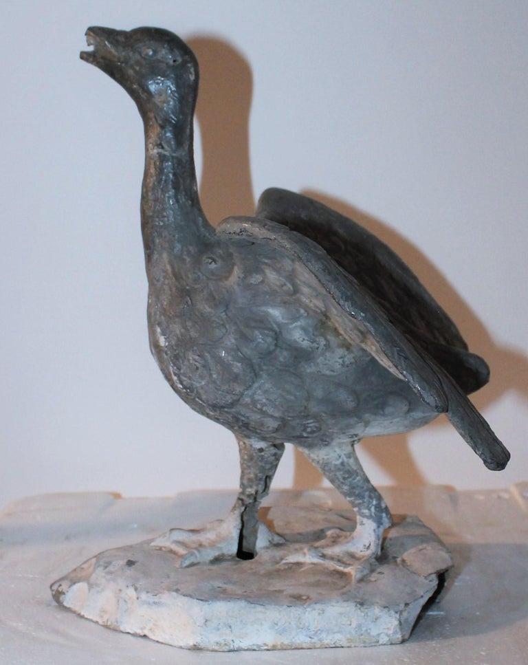 American 19th Century Zinc Folk Art Baby Goose For Sale