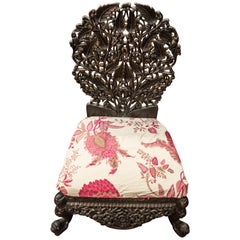 19thcentury Anglo-Raj Indian Black Carved Floral Hardwood Child Chair