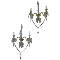 19th Century Baccarat French White Glass Couple of Luis XV Style Sconces
