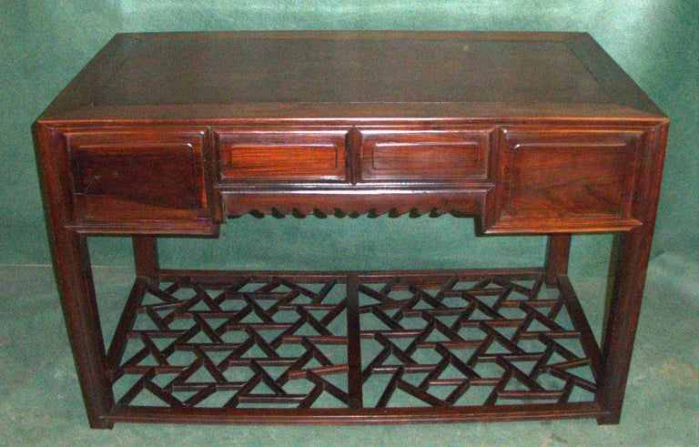 19th.Century Chinese Centre Table or Desk In Distressed Condition For Sale In Glencarse, Perthshire
