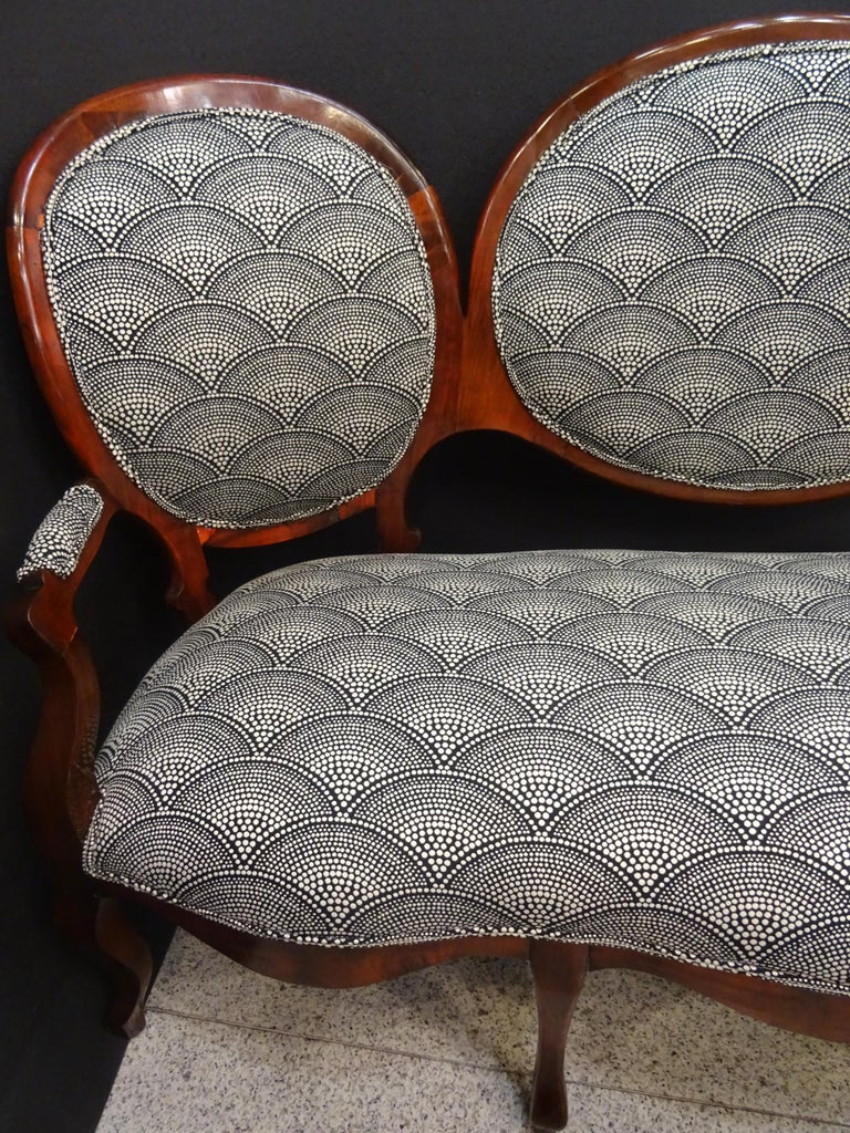 19th French Walnut Armchair  White and Black Fabric  Armchair Loveseat 5
