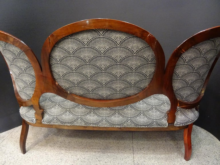 19th French Walnut Armchair  White and Black Fabric  Armchair Loveseat 7
