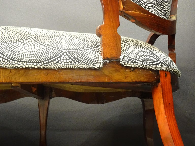 19th French Walnut Armchair  White and Black Fabric  Armchair Loveseat 9