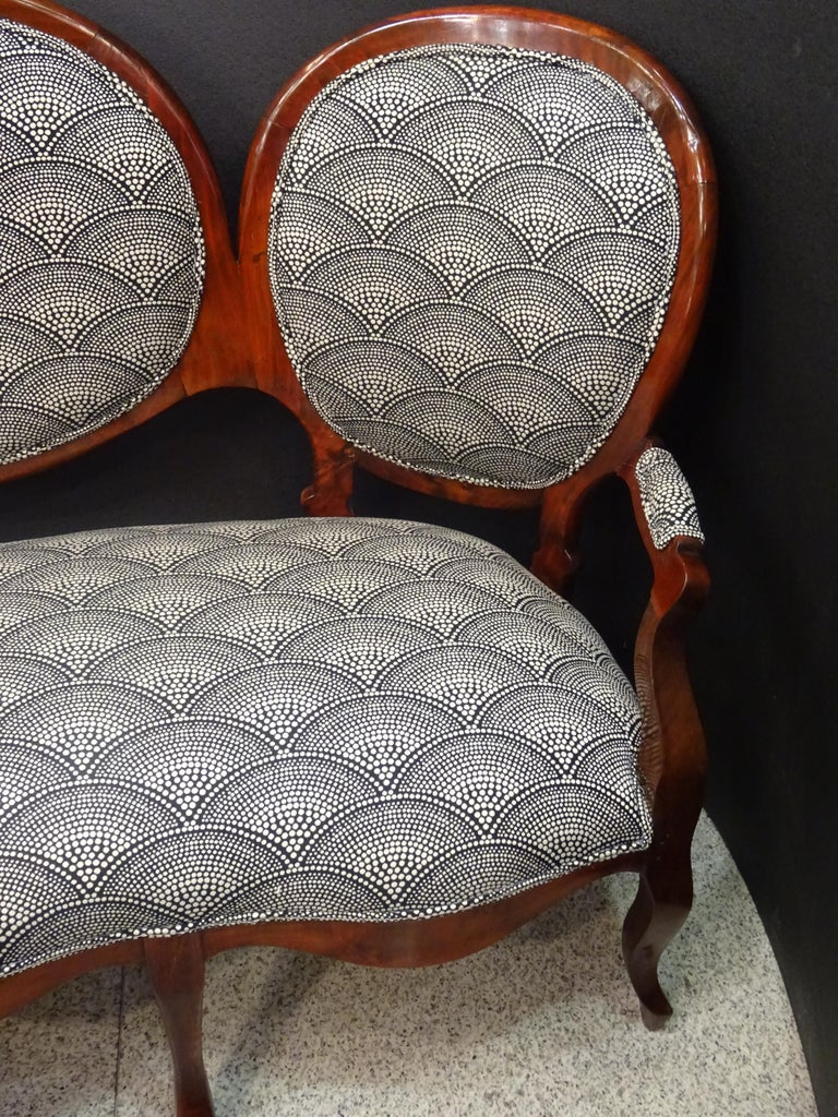 Late 19th Century 19th French Walnut Armchair  White and Black Fabric  Armchair Loveseat