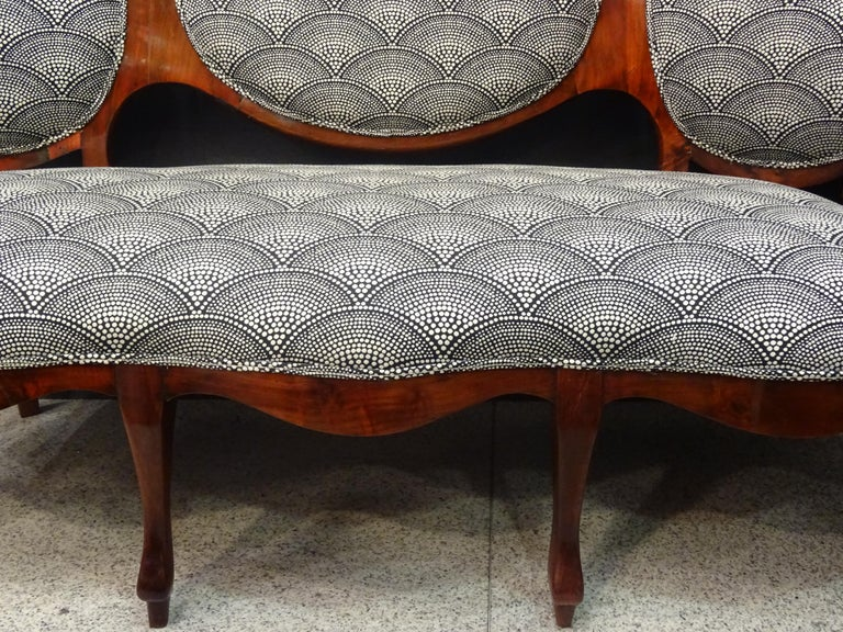 19th French Walnut Armchair  White and Black Fabric  Armchair Loveseat 1