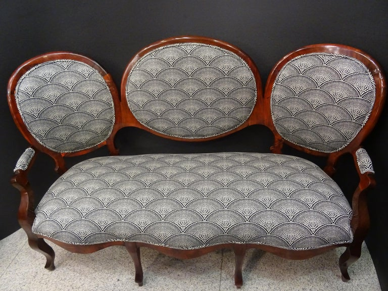 19th French Walnut Armchair  White and Black Fabric  Armchair Loveseat 2