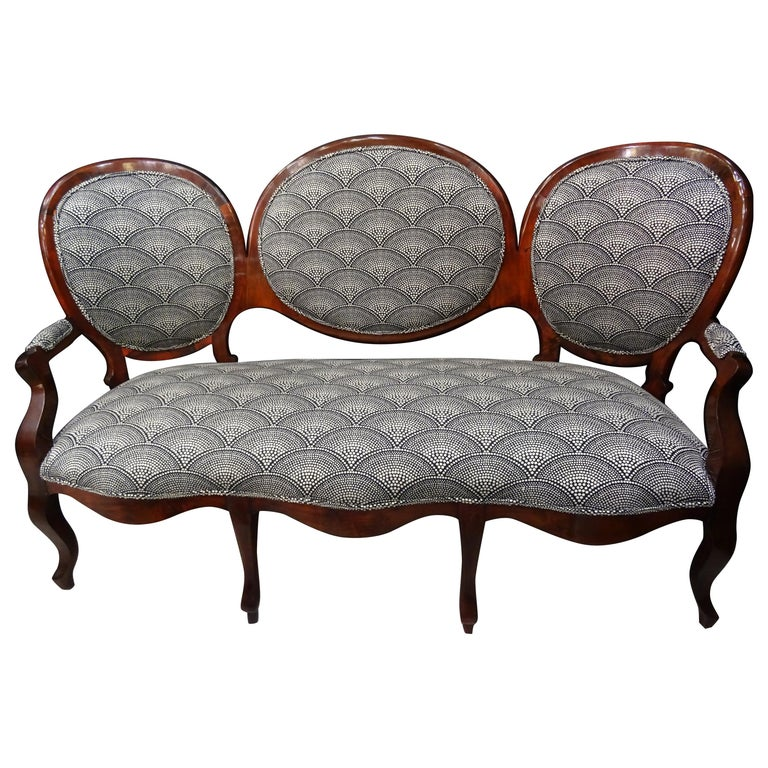 19th French Walnut Armchair  White and Black Fabric  Armchair Loveseat