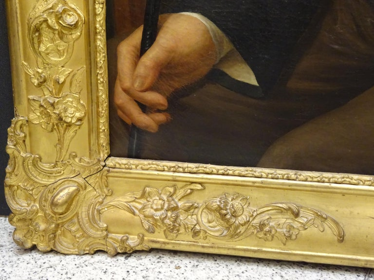 Painting Portrait of Spanish Bourgeois, Oil on Canvas, Gilt Carved Frame For Sale 9