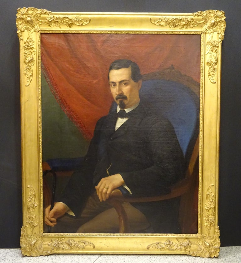 Painting Portrait of Spanish Bourgeois, Oil on Canvas, Gilt Carved Frame For Sale 13