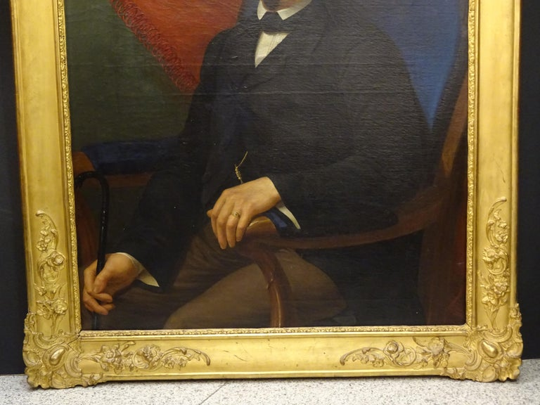 Victorian Painting Portrait of Spanish Bourgeois, Oil on Canvas, Gilt Carved Frame For Sale