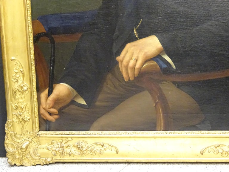 Hand-Painted Painting Portrait of Spanish Bourgeois, Oil on Canvas, Gilt Carved Frame For Sale